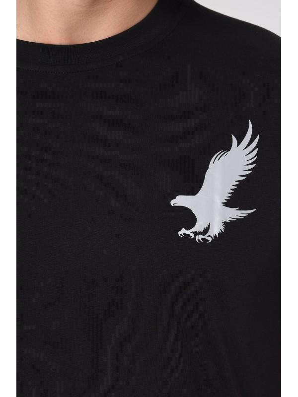 Baskılı Kısa kollu Eşofman Takım (Siyah-Vizon) -1705