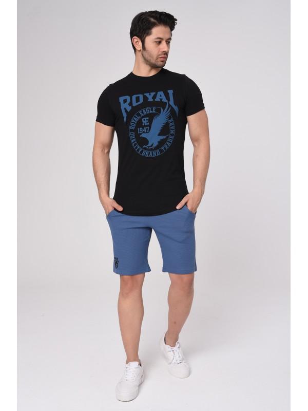 Baskılı Kısa kollu Şort T-Shırt Takım (Mavi) - 1711