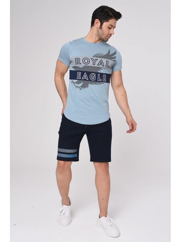 Baskılı Kısa kollu Şort T-Shırt Takım (Mavi) - 1717
