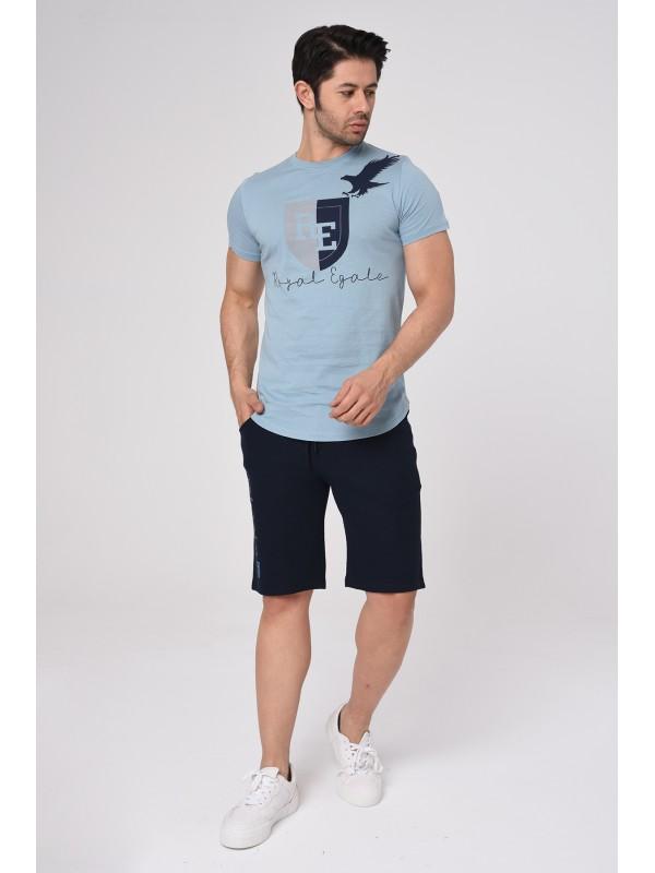 Baskılı Kısa kollu Şort T-Shırt Takım (Mavi) - 1718