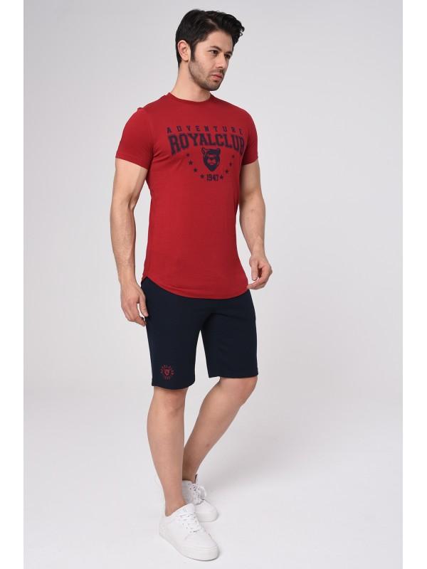 Baskılı Kısa kollu Şort T-Shırt Takım (Kırmızı) - 1719