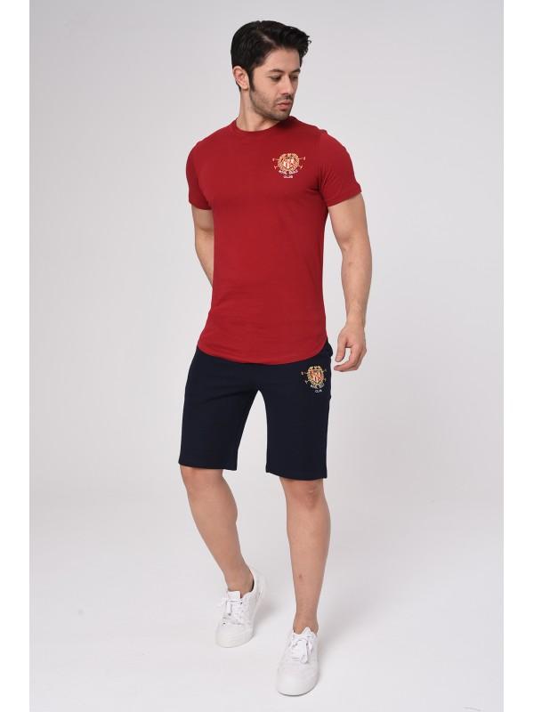 Baskılı Kısa kollu Şort T-Shırt Takım (Kırmızı) - 1720