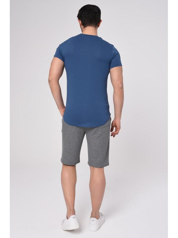 Baskılı Kısa kollu Şort T-Shırt Takım (Mavi) - 1721