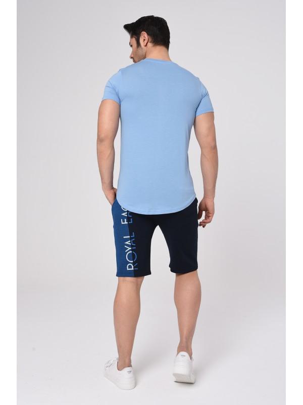 Baskılı Kısa kollu Şort T-Shırt Takım (Mavi) - 1723
