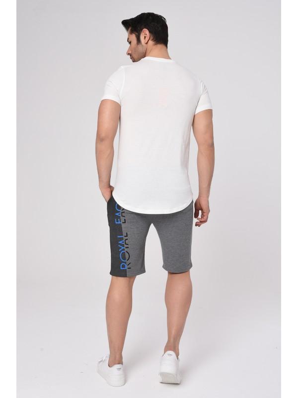 Baskılı Kısa kollu Şort T-Shırt Takım (Beyaz) - 1723